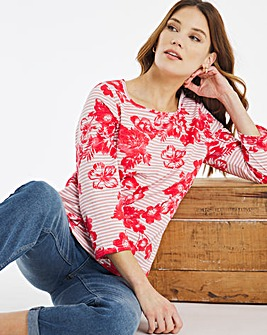 Julipa Stripe Floral Print T Shirt