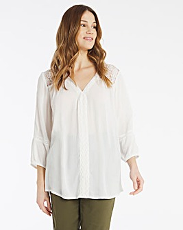 Julipa Lace Trim Crinkle Blouse