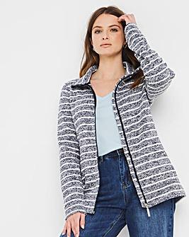 Julipa Leisure Stripe Zip Fleece Jacket