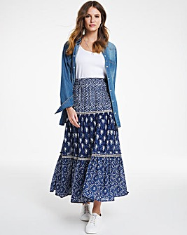 Julipa Mixed Print Tiered Skirt