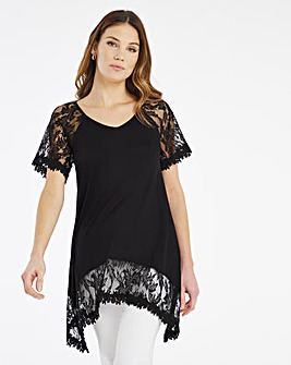 Julipa Lace Trim Hanky Hem Top
