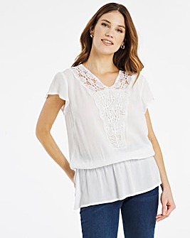 Julipa Crochet Trim Peplum Top