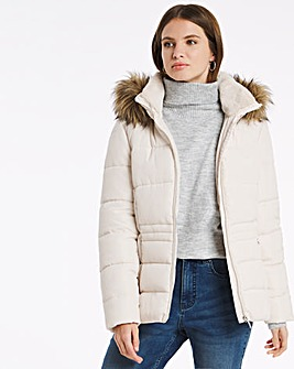 Julipa Padded Jacket with Faux Fur Hood