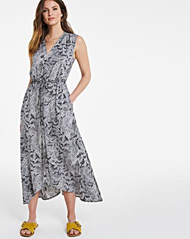 Julipa High Low Hem Print Shirt Dress