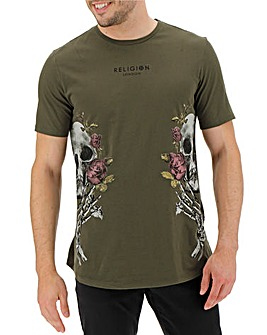 Religion Khaki Skull Wreath T-Shirt