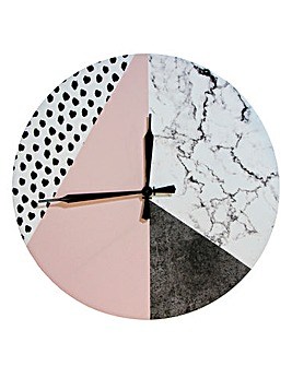 Geometric Pink Canvas Clock