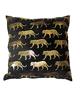 Black Velvet Cushion Gold Foil Animals
