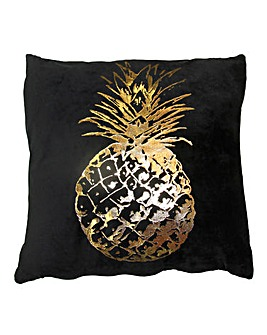 Black Velvet Cushion Gold Pineapple
