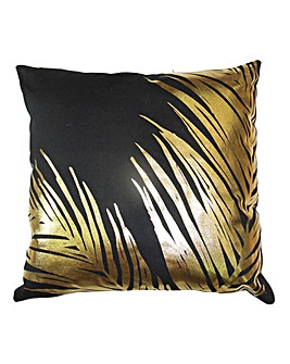 Black Canvas Cushion Gold Foil Leaves
