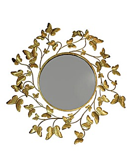 Metallic Gold Butterflies Mirror