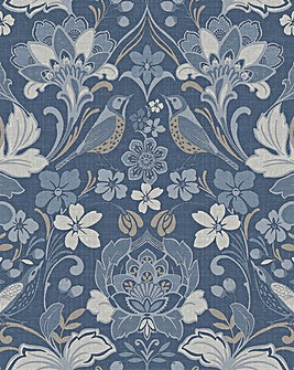 Folk Floral Denim Blue Wallpaper