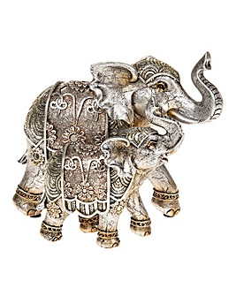 Antique Silver Elephant Mother And Baby