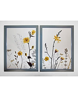 Set of 2 Ochre Floral Framed Prints