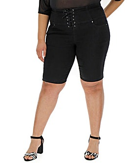 Black Chloe Corset Front Cycling Shorts
