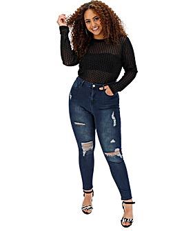 Petite Chloe High Waist Rip Skinny Jeans