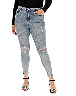 Blue Grey Acid Wash Chloe High Waist Ripped Skinny Jeans Regular Length