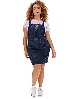 Acid Wash Denim Zip Pinafore Dress