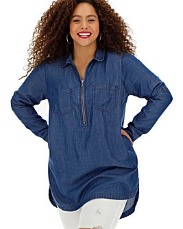 Indigo Zip Front Soft Tencel Denim Tunic