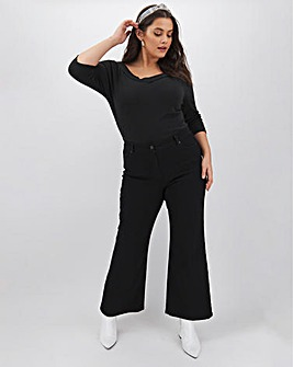24/7 Black Wide Leg Jeans Short Length