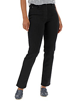 24/7 Black Straight Leg Jeans Regular