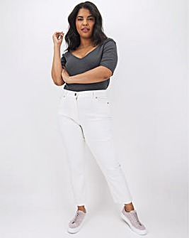 24/7 White Straight Leg Jeans Regular Length