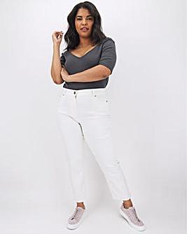 24/7 White Straight Leg Jeans