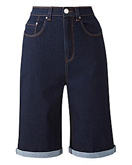 24/7 Indigo Knee Length Denim Shorts