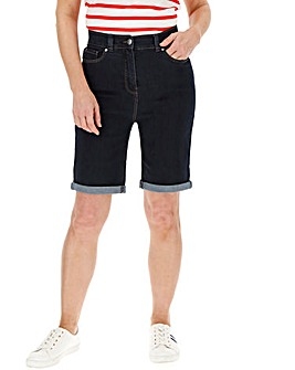 24/7 Indigo Knee Length Denim Shorts