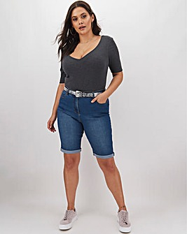 24/7 Blue Knee Length Denim Shorts
