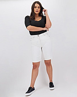 24/7 White Knee Length Denim Shorts