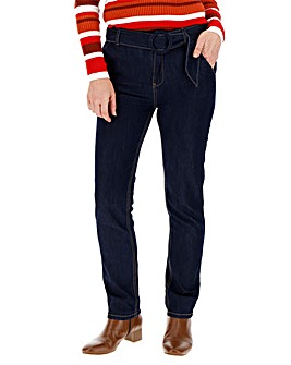 Indigo Belted Tapered Jeans