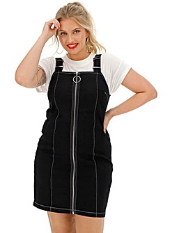 Black Contrast Stitch Denim Pinafore Dress with Full Length Zip