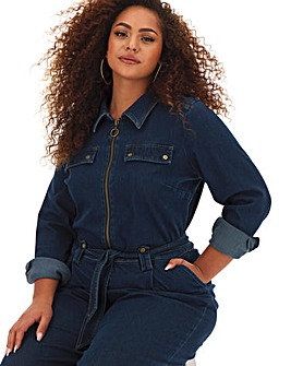 Jersey Denim Zip Front Boilersuit