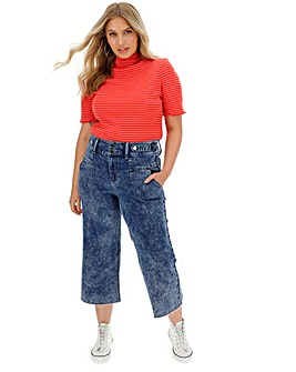Blue Acid High Waist Crop Wide Leg Jeans