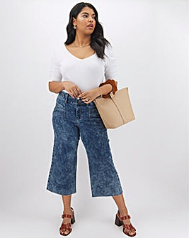 Blue Acid Wash High Waist Crop Wide Leg Jeans with Button Detail Waist