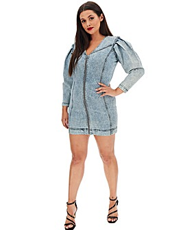 Acid Wash Denim Bodycon Mini Dress