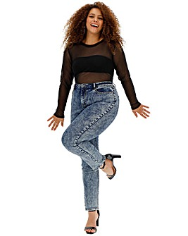 Blue Acid Demi High Waist Mom Jeans