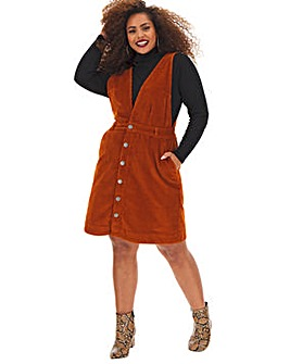 Stretch Cord Deep V Pinafore Dress