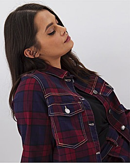 Red Checked Co-Ord Denim Jacket