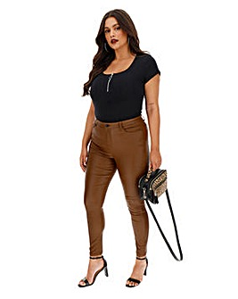 Tan Chloe Coated Skinny Jeans