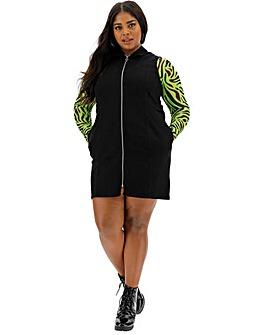Black Zip Front Denim Dress