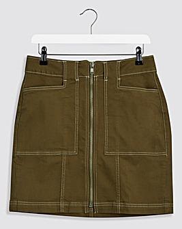 Khaki Utility Denim Skirt