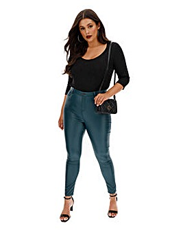 Petrol Chloe High Waist Coated Leather Look Skinny Jeans
