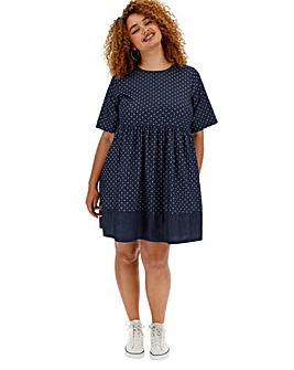 Lightweight Polka Dot Denim Smock Dress