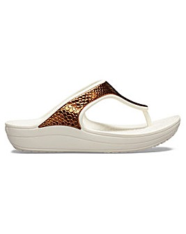 Crocs Sloane Metallic Text Flip Slip On