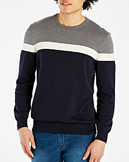 Bewley & Ritch Navy/Grey Margus Colourblock Jumper Regular