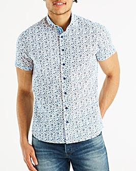 Bewley & Ritch White/Turq Popla Short Sleeve Ditsy Floral Print Shirt Regular