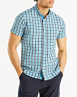 Bewley & Ritch Turquoise check Merins Short Sleeve Check Shirt Regular