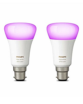 Philips Hue White & Colour B22 Twin Pack