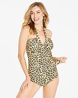 Leopard Print Twist Detail Tankini